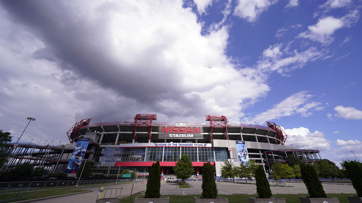Nissan Stadium, home of the Tennessee Titans, is shown Tuesday, Sept. 29, 2020, in Nashville, Tenn. The Titans suspended in-person activities through Friday after the NFL says three Titans players and five personnel tested positive for the coronavirus, becoming the first COVID-19 outbreak of the NFL season in Week 4.