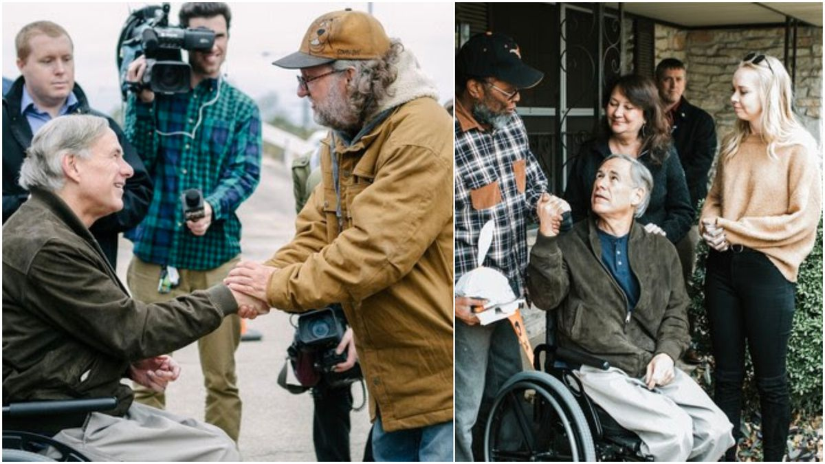 Texas Governor Greg Abbott delivers meals to homeless people and those in need in Austin on Thanksgiving Day. (Photos: Office of Governor Greg Abbott)