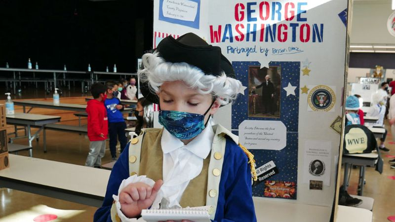 George Washington checks over his notes from his research on the country's first president.