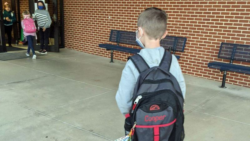 Cooper Guy, 8, returned to class Tuesday Jan. 5, after surviving a horrifying motorcycle...