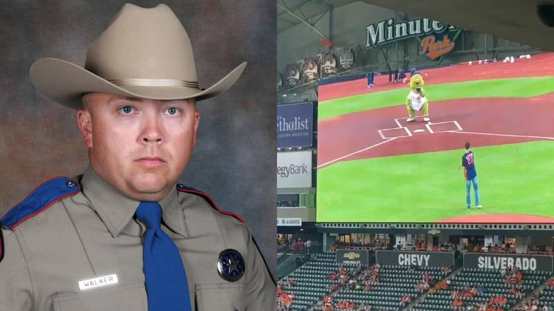 The son of slain Texas State Trooper Chad Walker threw the first pitch at a Houston Astros game.