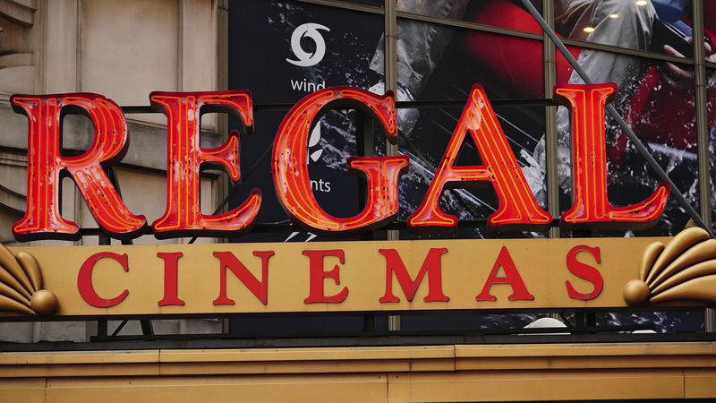 FILE - This Oct. 4, 2020 file photo shows a Regal Cinemas location in New York City.