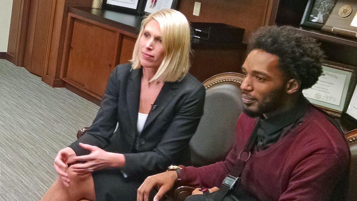 Travon Blanchard with his attorney, Michelle Tuegel of Waco. (Staff photo)