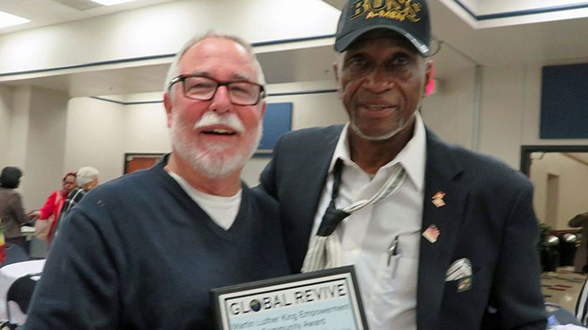 Mission Waco founder Jimmy Dorrell (left) was presented with the MLK Empowerment Community Award by Global Revive organization. (Courtesy photo)