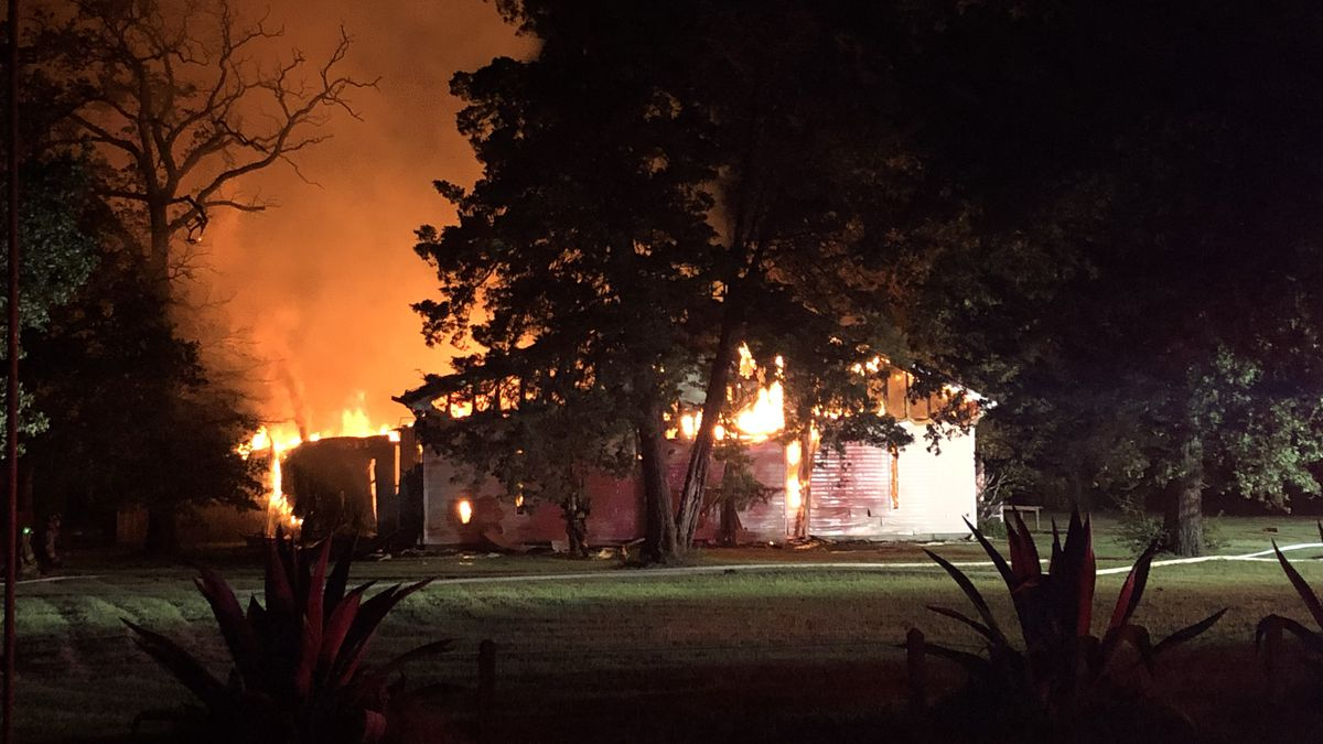 Southern Oaks Baptist Church in Bryan was destroyed by fire over the weekend. (KBTX photo)