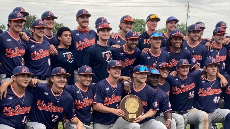 The McLennan baseball team poses with the Region V Super Regional Trophy