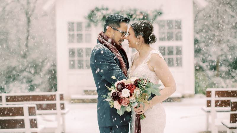 Terence and Erin Loo had a special day that included record snow in Brazos County Sunday.
