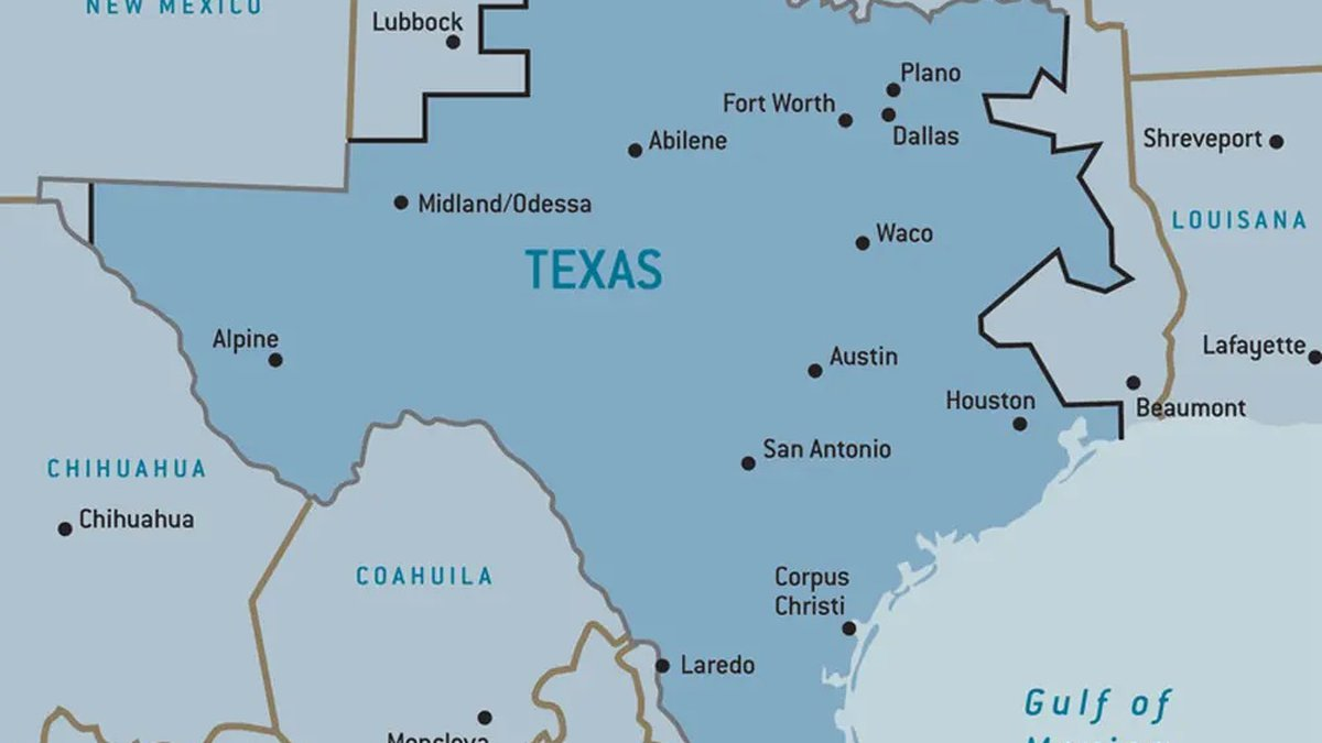 A map of the electrical grids in Texas.