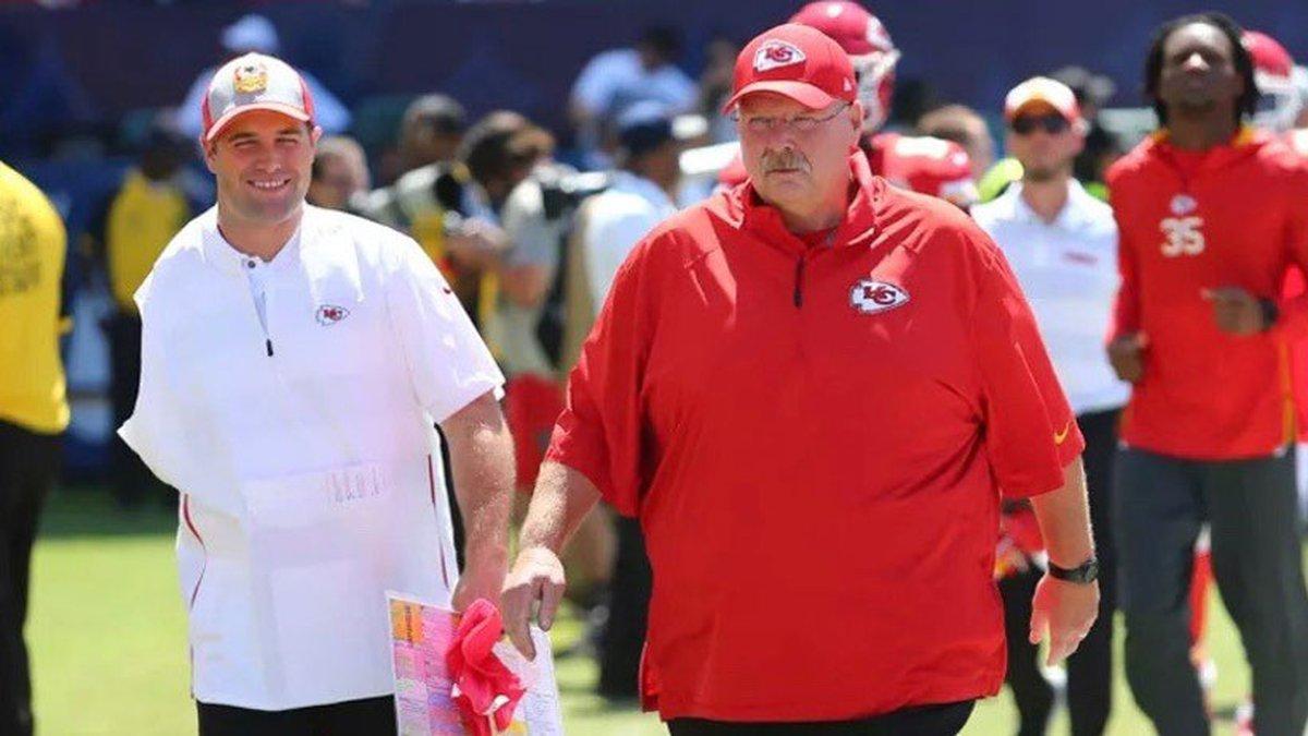 BU graduate Porter Ellett (left) is known as Chiefs head coach Andy Reid's...