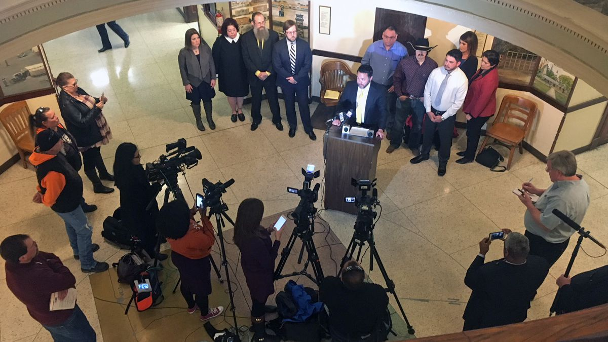"Attorneys for some of the bikers whose cases were dismissed held a news conference Thursday Feb. 8 in the McLennan County Courthouse rotunda. ""The Twin Peaks dam has now broken,"" attorney Brian Bouffard said."