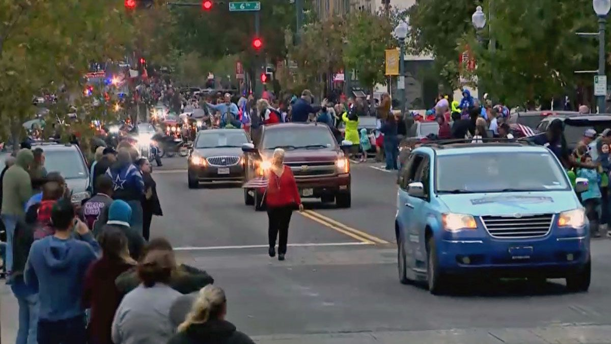 The cold front arrived at about the same time as Waco's annual Veterans Day parade was starting Monday. (City of Waco photo)