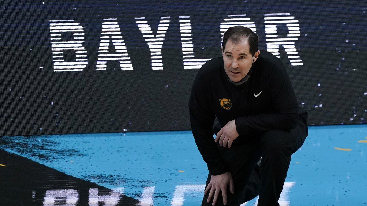 Baylor head coach Scott Drew watches from the sideline during the second half of a men's Final...