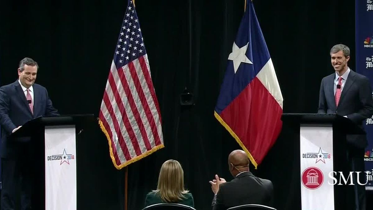 U.S. Sen Ted Cruz, R-Texas (left) and U.S. Rep. Beto O'Rourke, D-El Paso, debated for the first time on Friday Sept. 21, 2018. (CNN VAN photo)