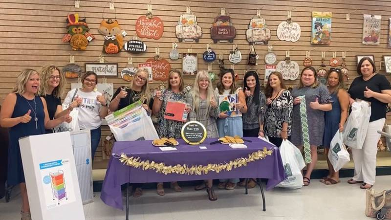 Some of the 67 Mart ISD teachers and staff members who were surprised with a back-to-school...