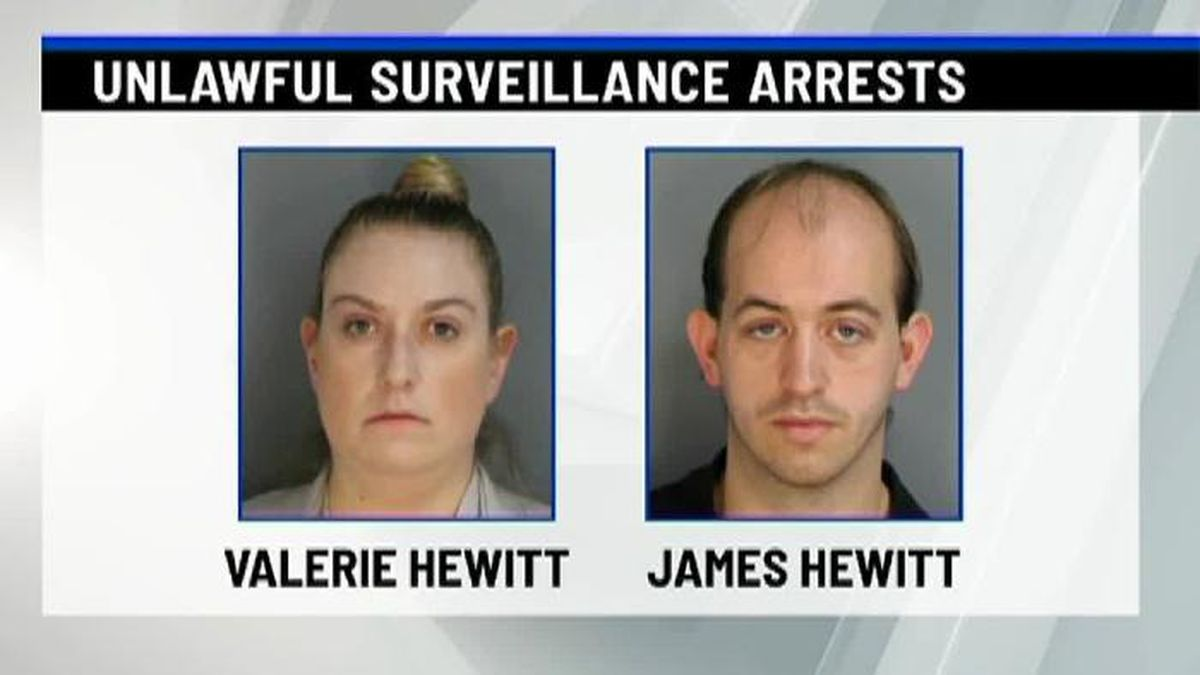 Thirty-year-old James Hewitt and his wife, 29-year-old Valerie Hewitt, stand accused of working together to film women and young girls in bathroom stalls. (Source: WTEN/CNN)
