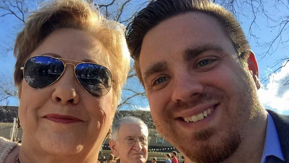Michael Swearingin (right) with his mother, Deborah Daniel Harrison. (Family photo)