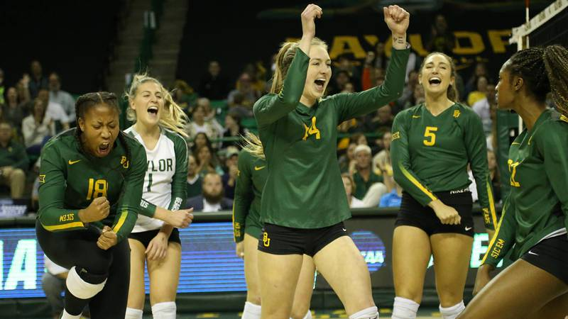 The Bears celebrate at the Ferrell Center early in the season