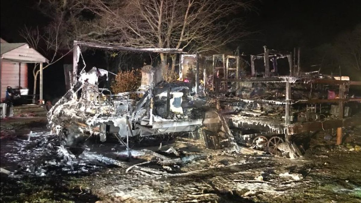 An RV went up in flames late Saturday night just before 10:30 p.m..