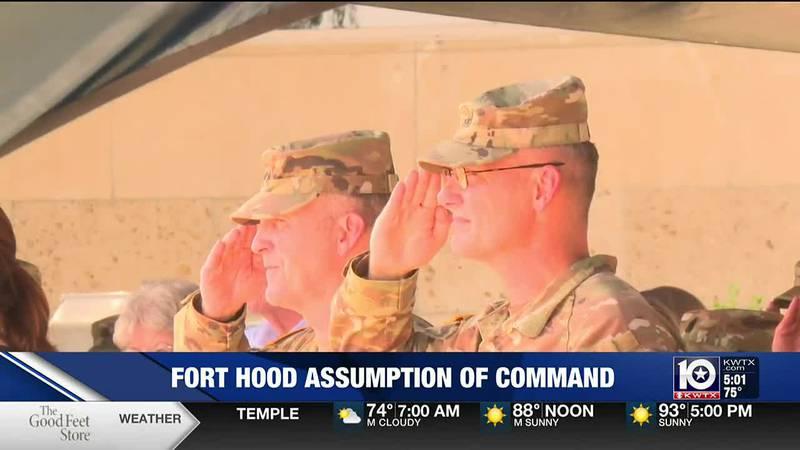 Lt. Gen. Pat White, III Corps and Fort Hood commander, stands beside Maj. Gen. Steven Gilland,...