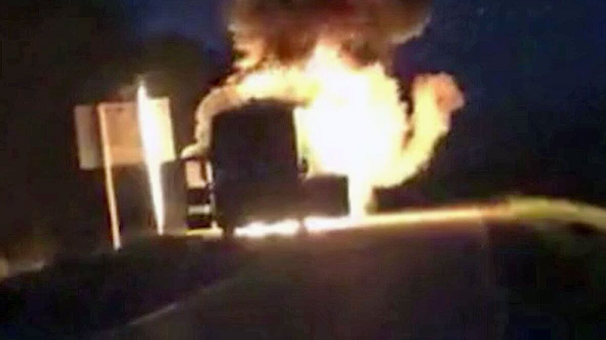 Longview native Neal McCoy, was on his tour bus, 'Old Glory', on his way to a concert date in Louisiana when the bus suddenly caught fire. (KLTV photo)