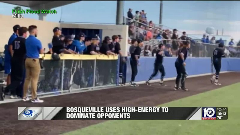 Bosqueville dugout celebrates during a second round series with Frost