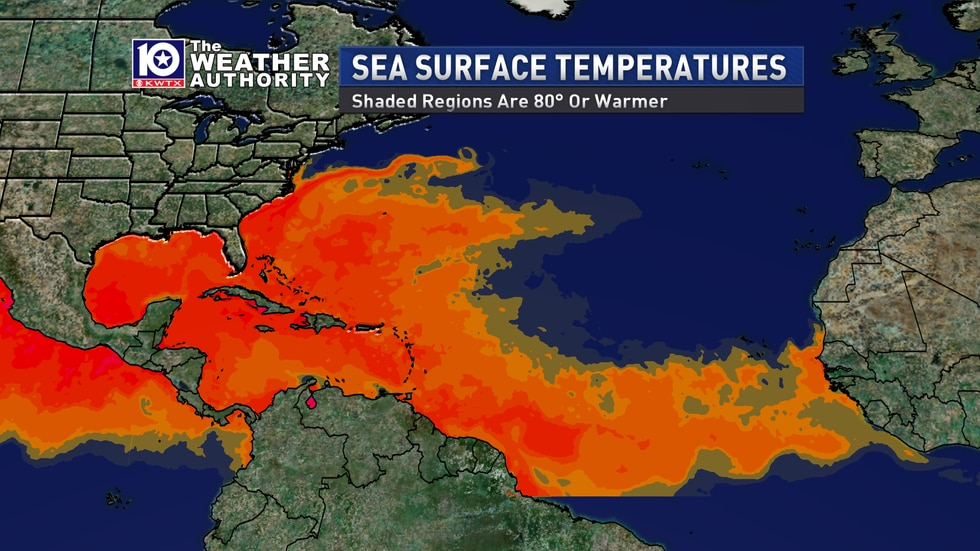 A map of current sea surface temperatures in the tropical Atlantic. The entire tropical Atlantic has sea-surface temperatures at or above 80° which is the typical threshold for tropical storms to develop.