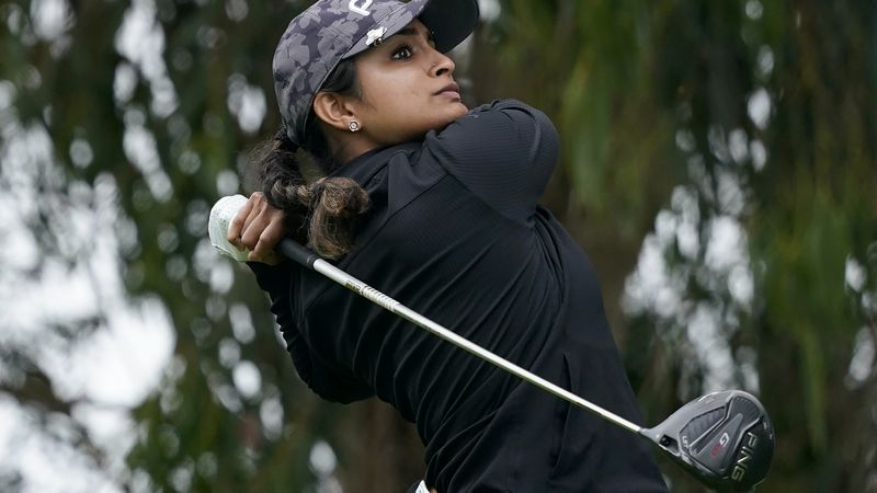Gurleen Kaur hits from the fifth tee during the first round of the U.S. Women's Open golf...