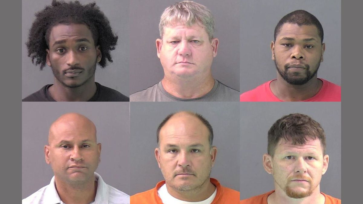 (Top row left to right) Shaquille White, Michael Jordan and Daniel Harris.  (Bottom row left to right) Hans Bailey, Robert Babcock and Cory Cannon.