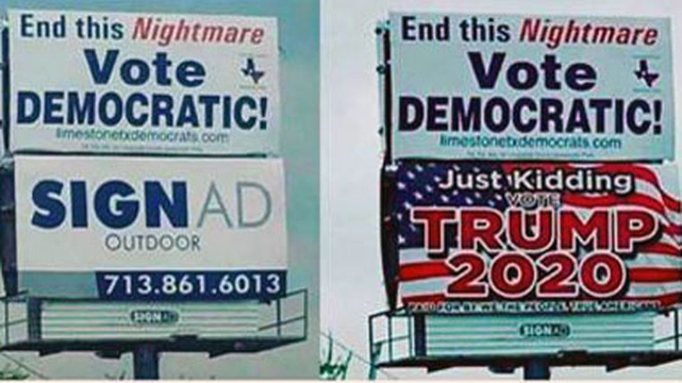 The bottom space was vacant when Democrats rented space for their billboard.  But not for long.  Republicans leased it and put up one of their own.