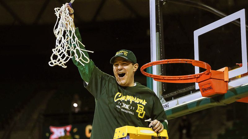 Baylor's Scott Drew celebrates winning the Big 12 title.