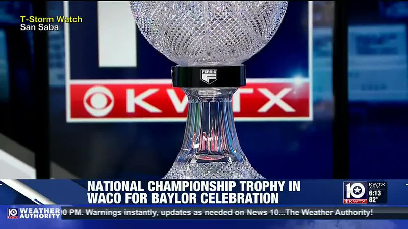 National Championship Trophy in Waco for Baylor Celebration