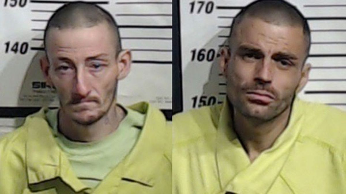 Michael David Raue, Jr., 35, (left) and Thomas Dewayne Raue, 32, remained in custody Monday charged with possession of a controlled substance. (Jail photos)