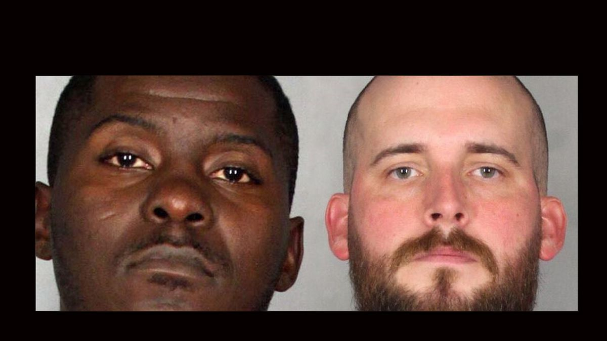 Waco police Officer George Neville (right) was charged with misdemeanor assault following an investigation of a May 4 arrest that started after a review of dashcam video showed an officer grabbed the suspect, Qualon Deshon Weaver (left) around the neck. (Jail photos)