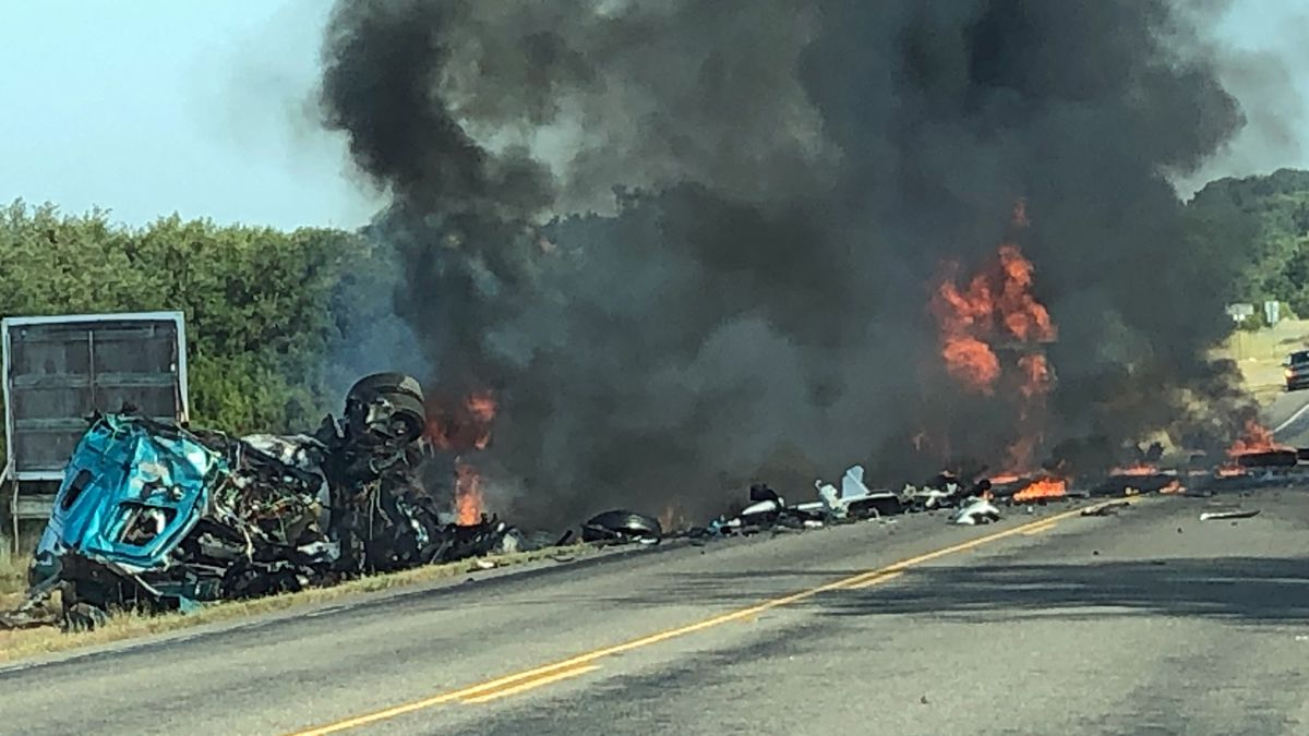 This photo was taken about two minutes after the fiery crash north of Hico. (Photo courtesy of...