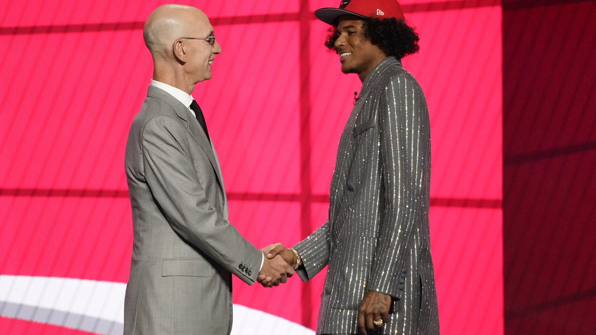 NBA Commissioner Adam Silver greets Jalen Green after he was selected by the Houston Rockets as...