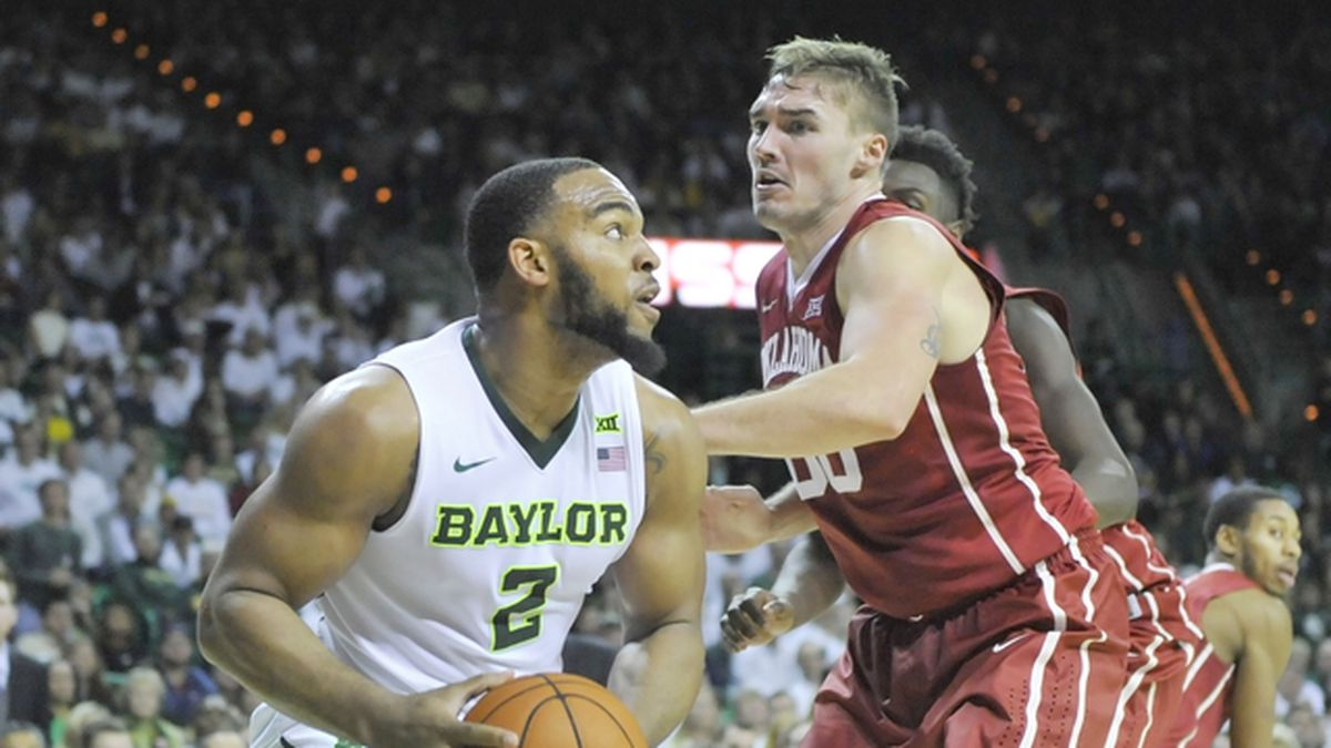 Baylor forward RICO GATHERS (2) looks to attempt a shot over Oklahoma forward RYAN SPANGLER (00) during the second half of an NCAA college basketball game at the Ferrell Center in Waco, Texas on Saturday, January 23, 2016. Top ranked Oklahoma won 82-72.