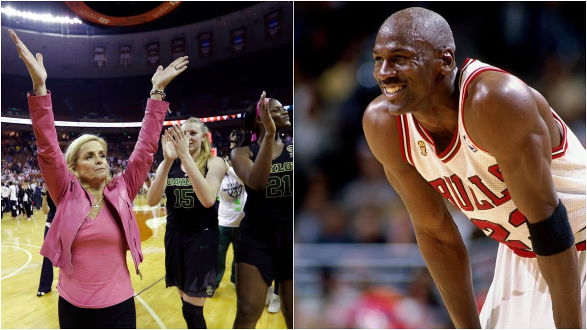 Baylor University Head Basketball Coach Kim Mulkey and NBA legend and hall of famer Michael...