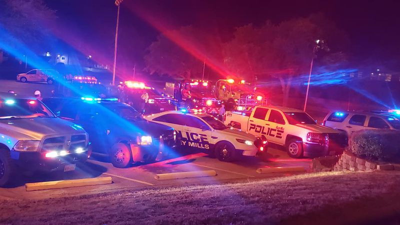 Bosque County first-responders shone their lights for hospital workers Wednesday night to show...