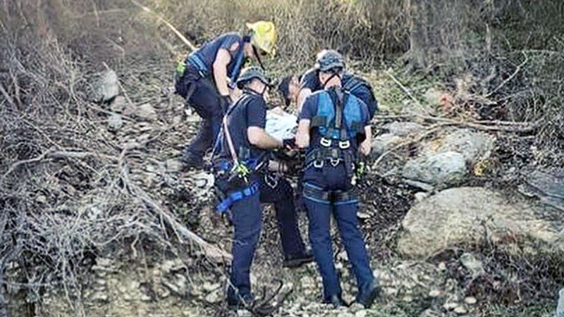 Firefighters rescued a hiker injured in a fall in a rugged area of a local lakeside park.