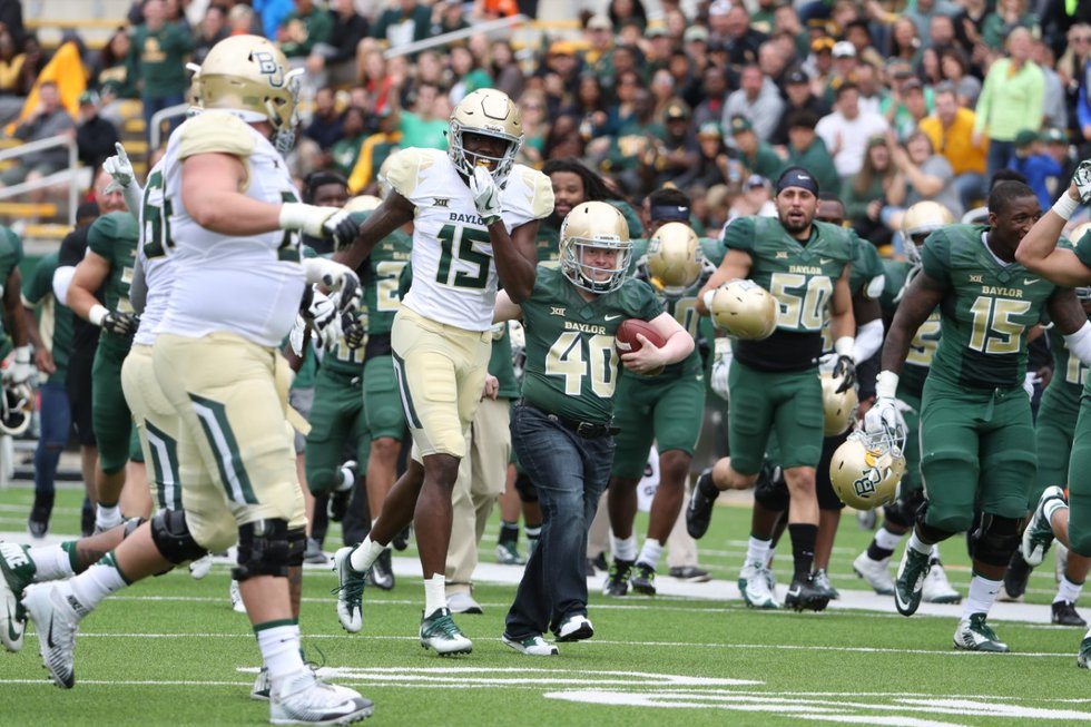 File:  Clint Lewis with the Baylor Football team