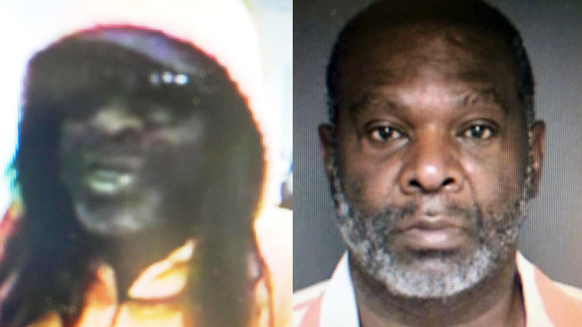 Ronald James Bryant in a booking photo (right) and a surveillance image of the robber. (Falls County Sheriff's Office photos)