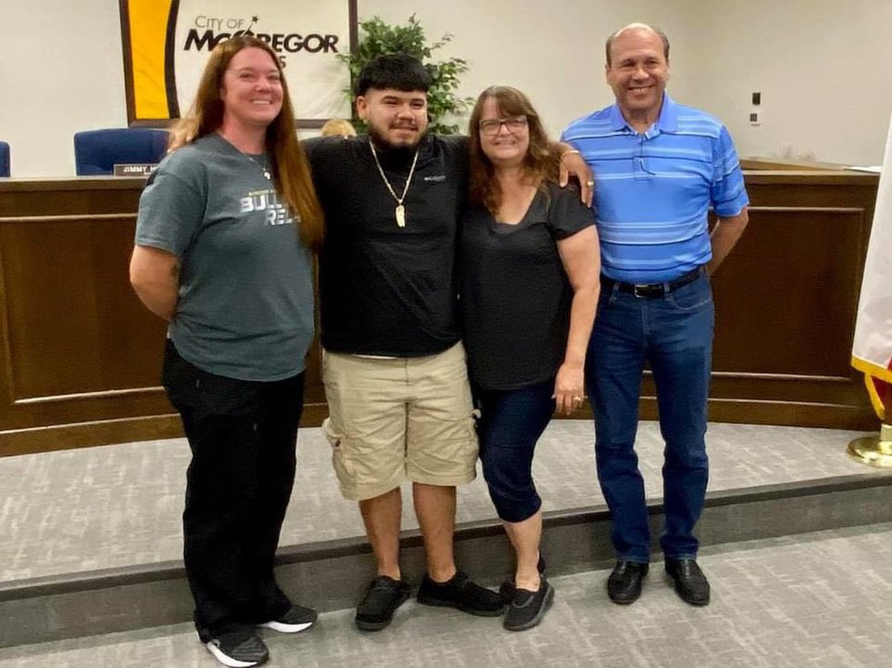 Coffee Shop owners Valerie and Donald Citrano, and school nurse Amanda Franks attended the city...