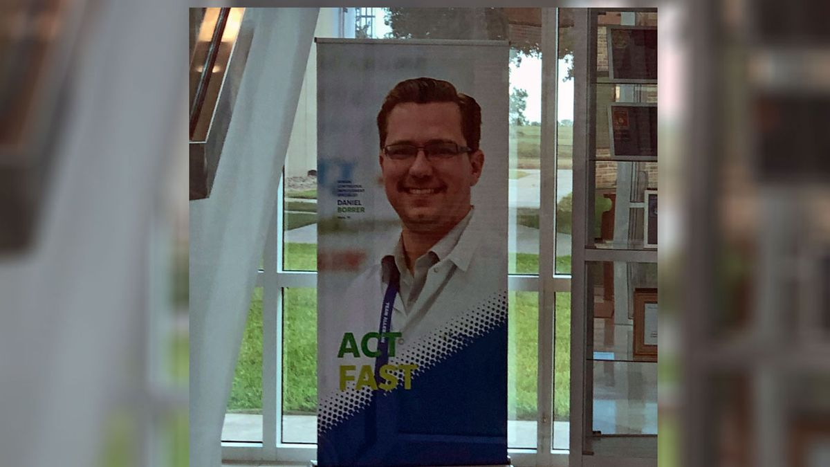 Daniel Borrer, 40, of China Spring, was arrested at Allergan's Waco facility where he appears on this poster in the lobby. (McLennan County Sheriff's Office photo)