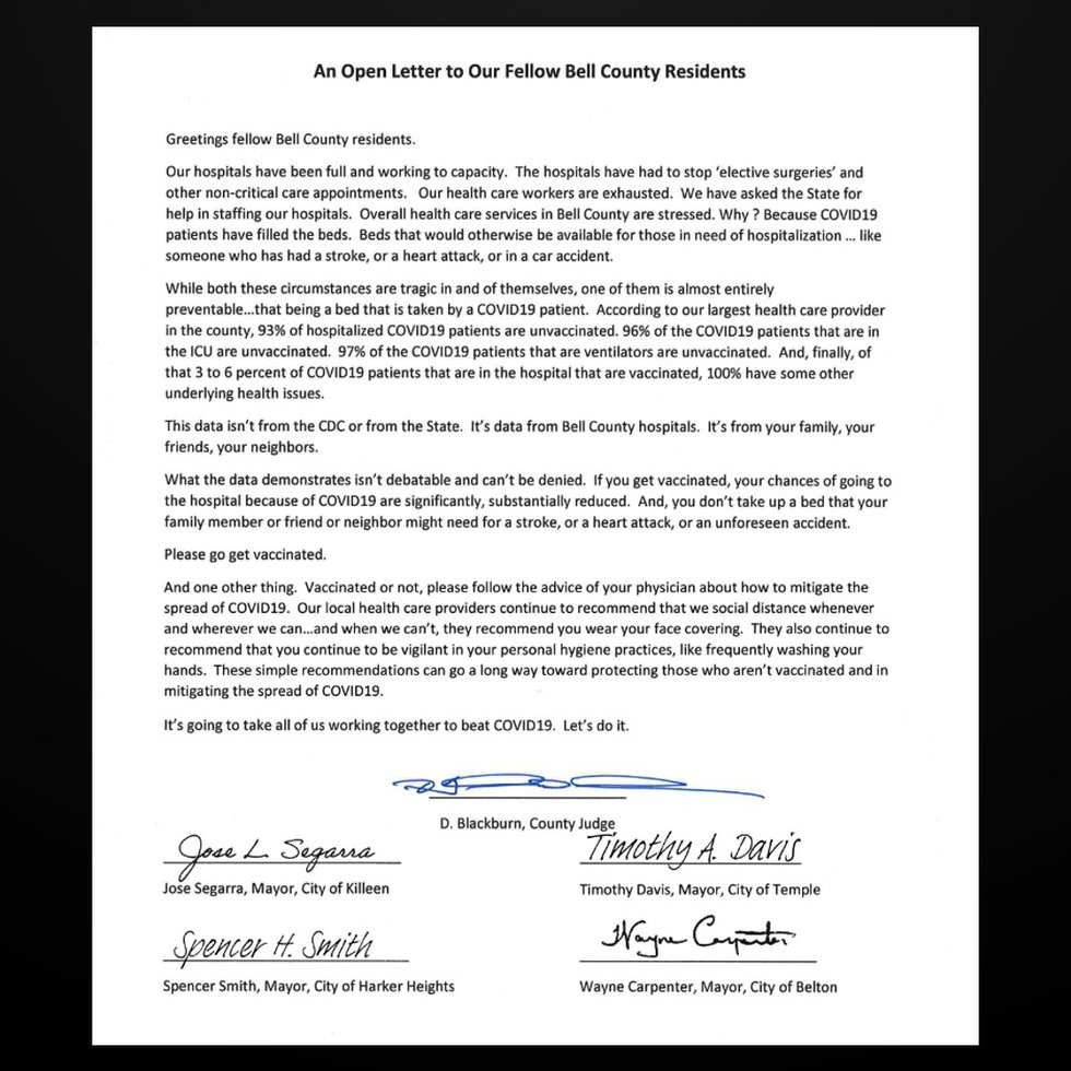 Open letter penned by Bell County leaders