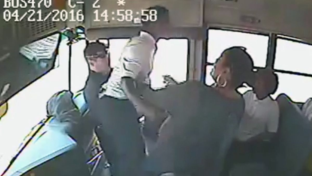 A frame grab from video of the incident recorded by a surveillance camera aboard the bus.