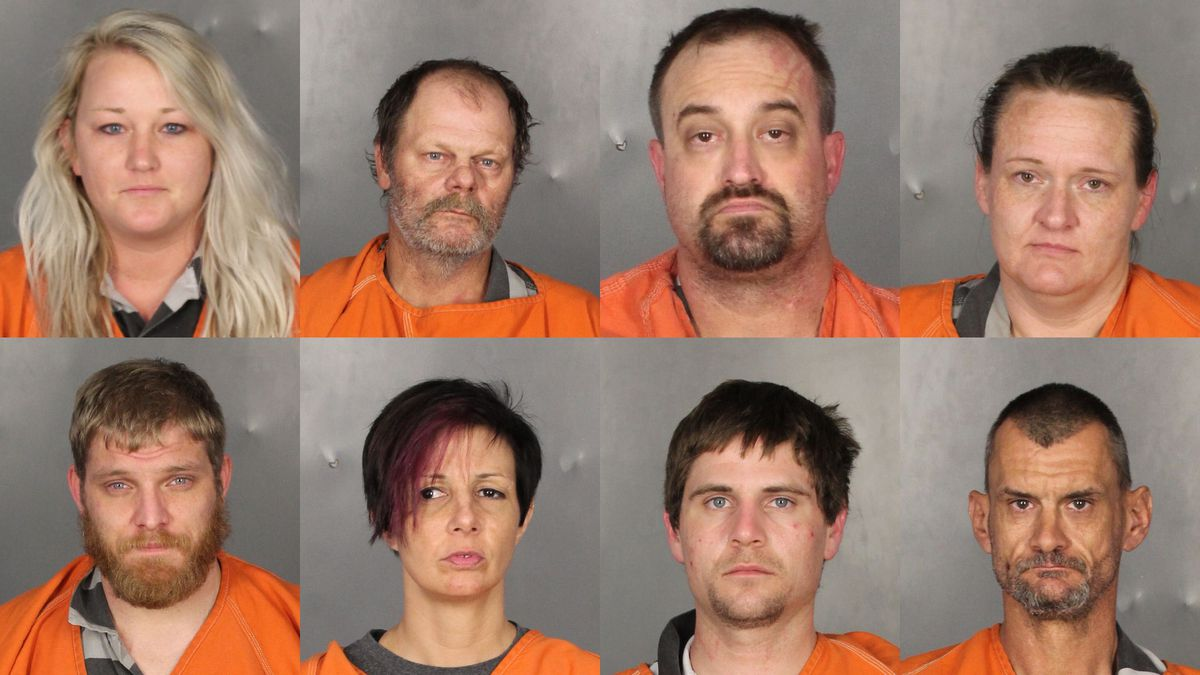 (Tof, left to right) Brittany Hanzlicek, Barry Blagg, Dustin Pitts, Heather McHargue.  (Bottom, left to right)  Nathan Cross, Tamra Robinson, Robert Carr, Robert Sears.  (Jail photos)