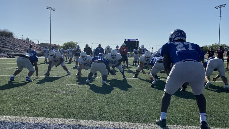 Spring football practice in temple