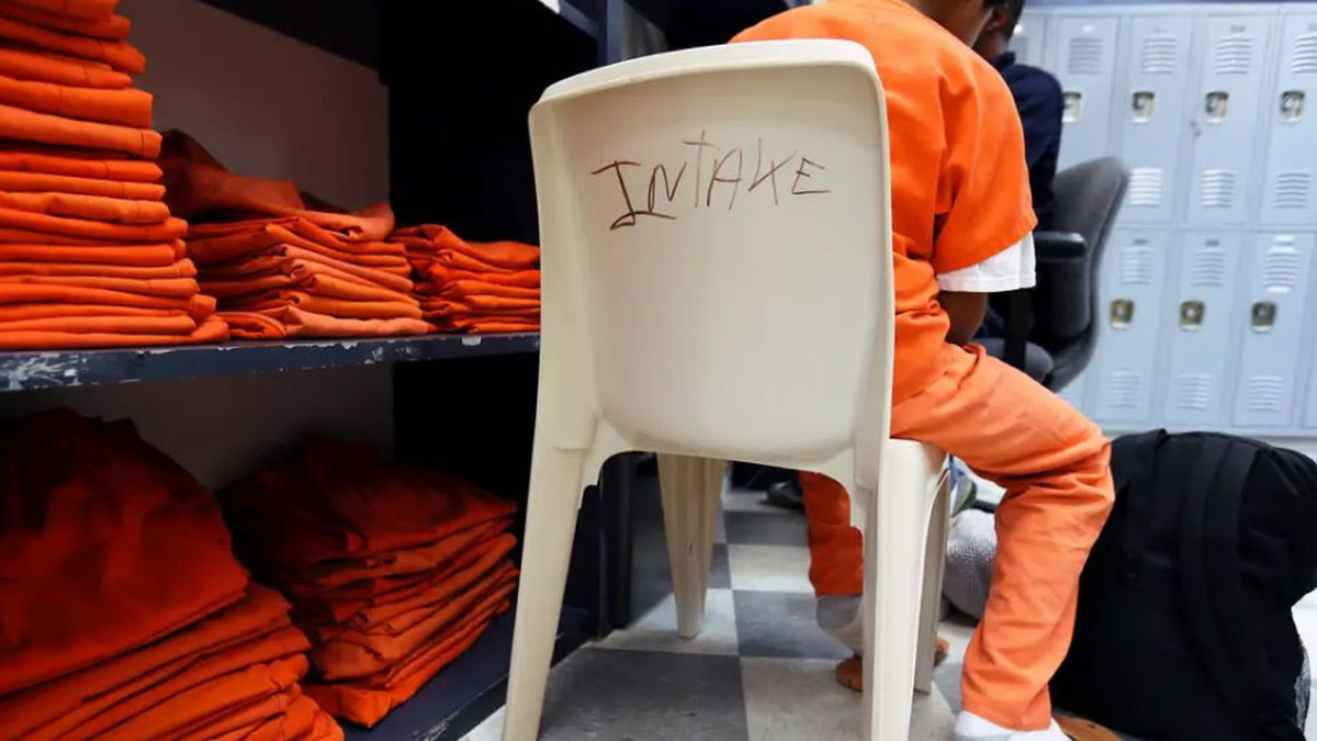 The intake room at the Travis County Juvenile Detention Center in Austin in 2013. Two advocacy...