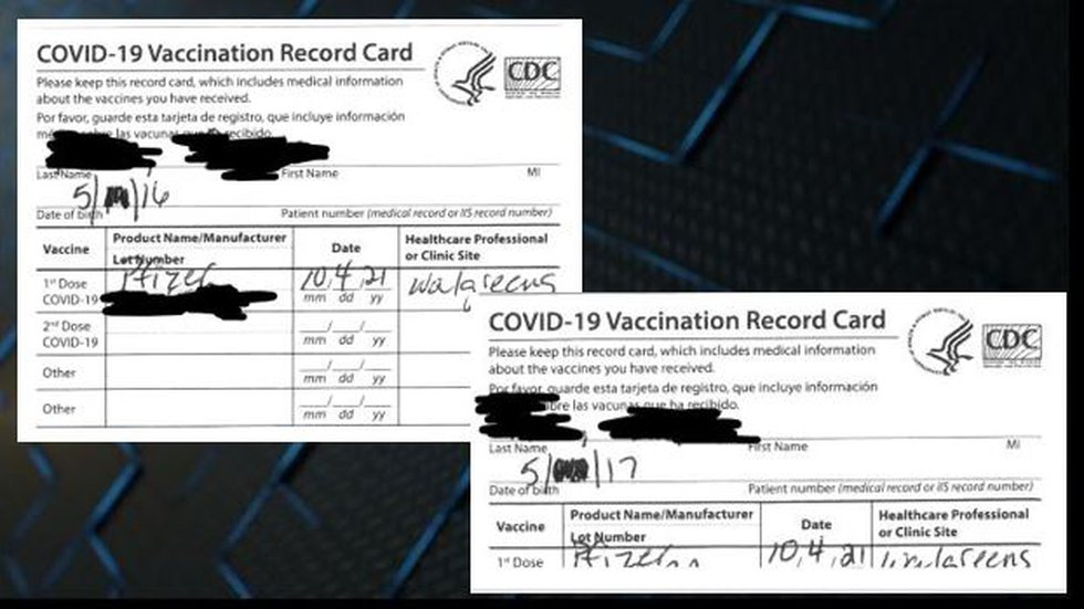 The family's attorney, Daniel Tuley, shared what he says are the vaccination cards given to the...
