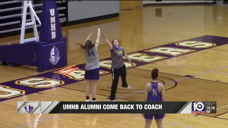 UMHB Assistant Coach, Haven Neal, running a drill at practice